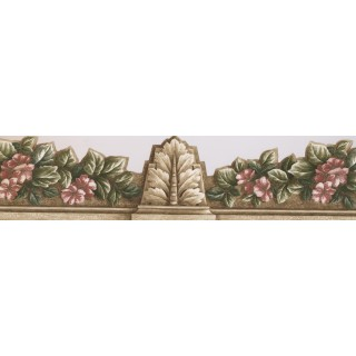 7 in x 15 ft Prepasted Wallpaper Borders - Red Green Floral ArchitecturalWall Paper Border
