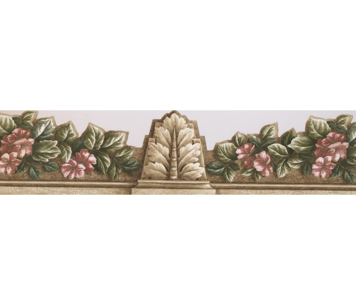 Clearance: Red Green Floral ArchitecturalWallpaper Border
