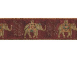 5 1/4 in x 15 ft Prepasted Wallpaper Borders - Gold Red Traditional Elephant Wall Paper Border