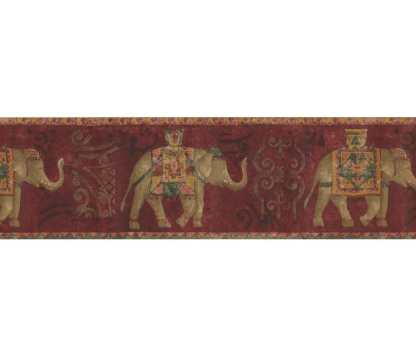 Vintage Wallpaper Borders: Gold Red Traditional Elephant Wallpaper Border