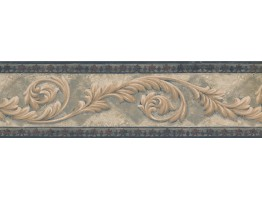 Navy Bordo Cream Leaf Molding Wallpaper Border