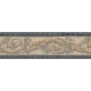7 in x 15 ft Prepasted Wallpaper Borders - Navy Bordo Cream Leaf Molding Wall Paper Border