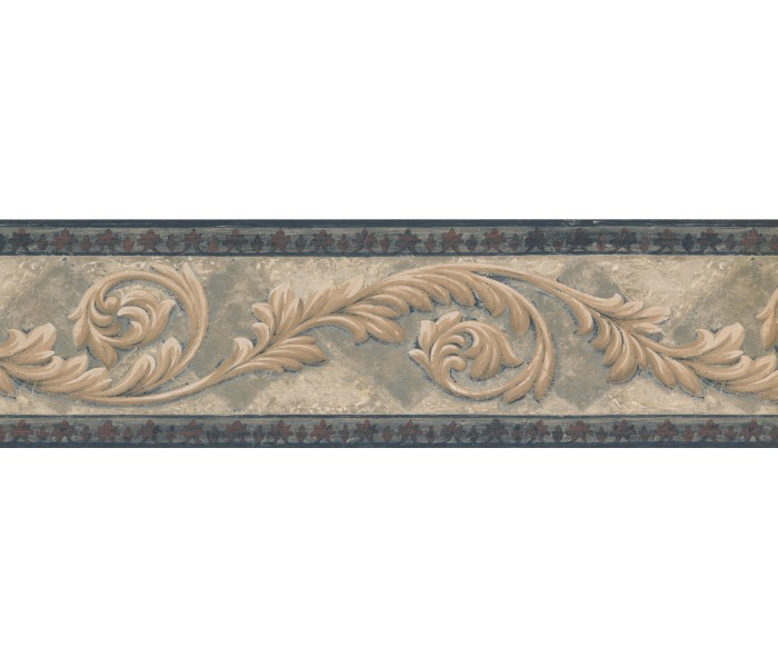 Vintage Wallpaper Borders: Navy Bordo Cream Leaf Molding Wallpaper Border