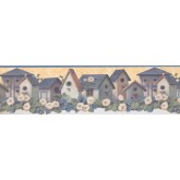 Prepasted Wallpaper Borders - Red Birdhouses Wall Paper Border