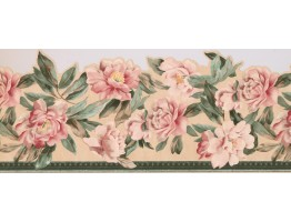 White Pink Roses Wallpaper Border 76874AT