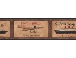 6 3/4 in x 15 ft Prepasted Wallpaper Borders - Black Framed Ship and Airplane Wall Paper Border