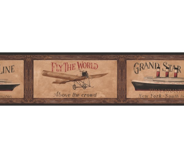 Novelty Borders Black Framed Ship and Airplane Wallpaper Border York Wallcoverings
