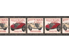 Prepasted Wallpaper Borders - Black Framed Vintage Cars Wall Paper Border