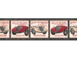 Prepasted Wallpaper Borders - Black Framed Vintage Cars Wall Paper Border