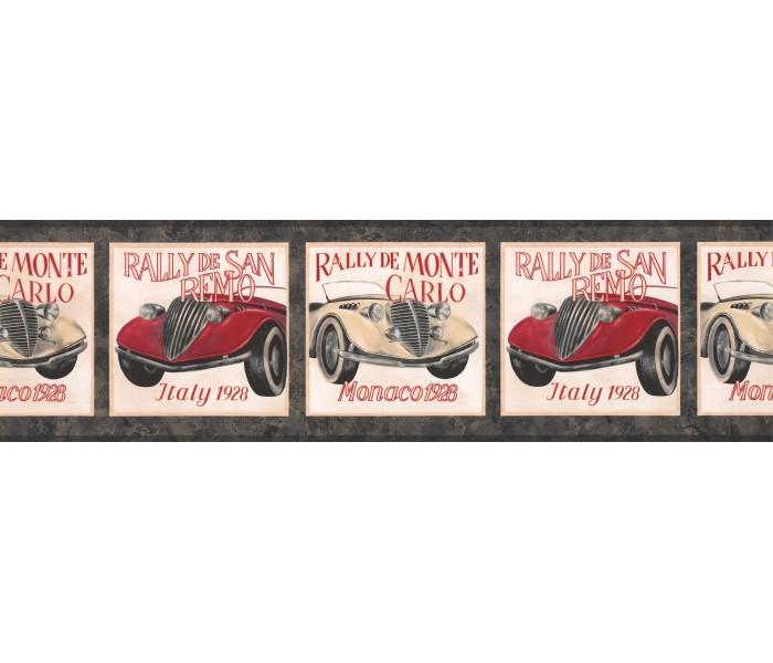 Cars Wallpaper Borders: Black Framed Vintage Cars Wallpaper Border