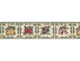 Prepasted Wallpaper Borders - Plum Cherry Pear Wall Paper Border