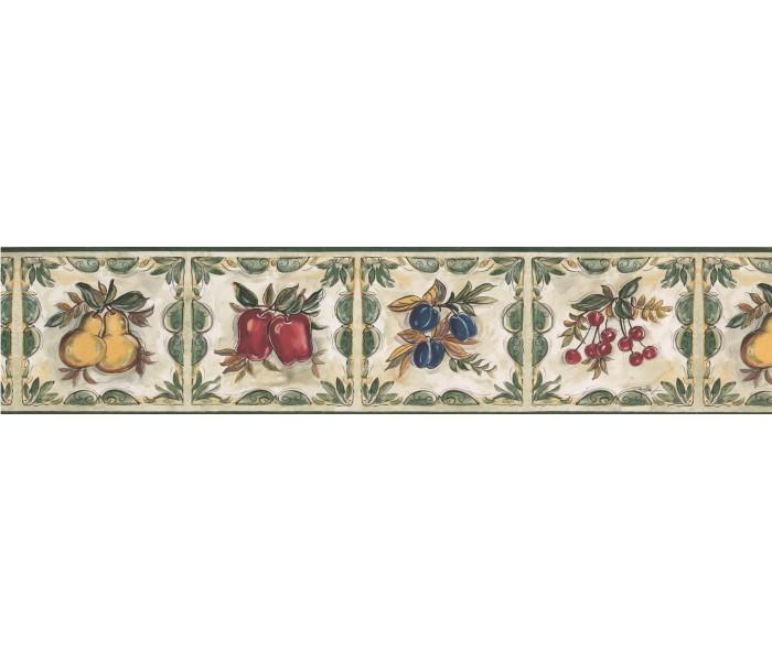 Garden Wallpaper Borders: Plum Cherry Pear Wallpaper Border