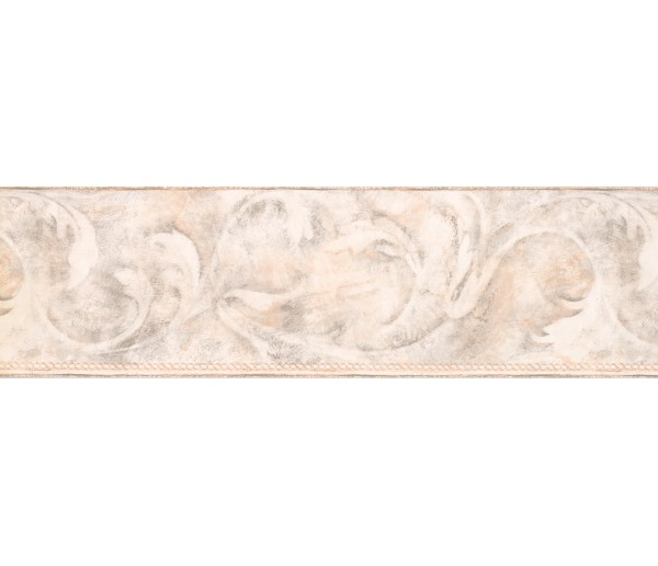 Contemporary Wall Borders: Beige Acanthus Scroll Wallpaper Border