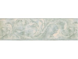 Prepasted Wallpaper Borders - Light Green Acanthus Scroll Wall Paper Border