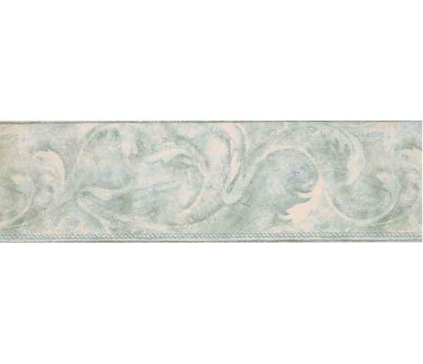 Contemporary Borders Light Green Acanthus Scroll Wallpaper Border