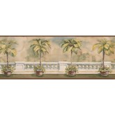 Tropical Palm Tree on Balcony Wallpaper Border York Wallcoverings
