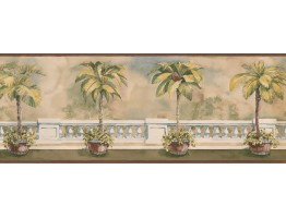 9 in x 15 ft Prepasted Wallpaper Borders - Palm Tree on Balcony Wall Paper Border