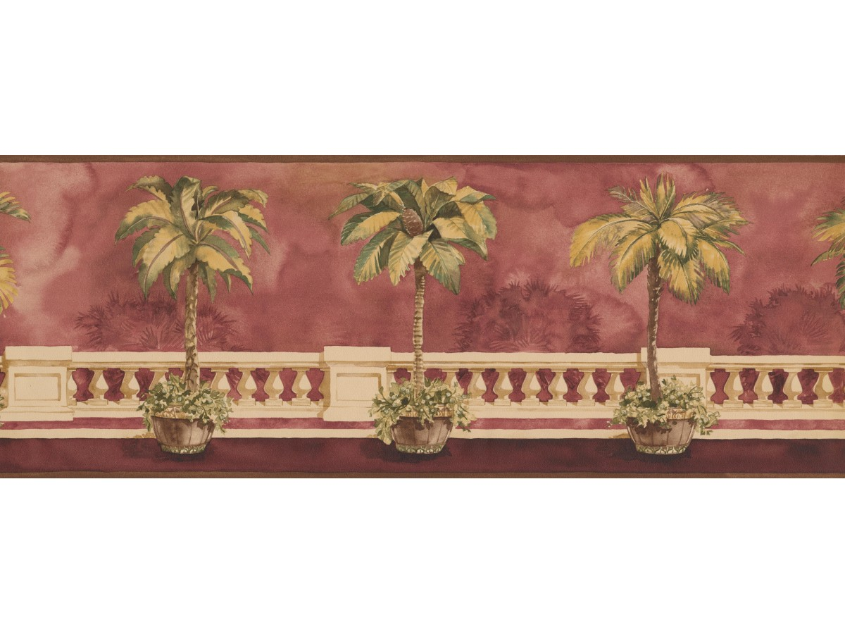 Brown Background Palm Tree on Balcony Wallpaper Border