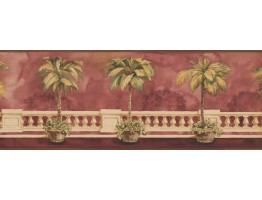 Prepasted Wallpaper Borders - Brown Background Palm Tree on Balcony Wall Paper Border