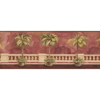 9 in x 15 ft Prepasted Wallpaper Borders - Brown Background Palm Tree on Balcony Wall Paper Border