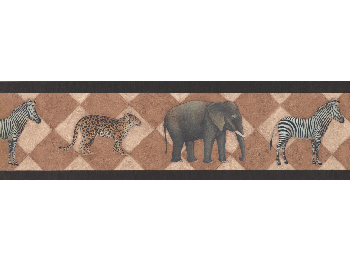 . Prepasted Wallpaper Borders   Black Safari Wall Paper Border