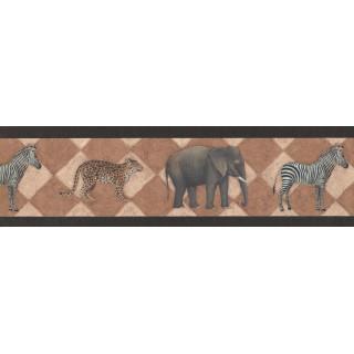 7 in x 15 ft Prepasted Wallpaper Borders - Black Safari Wall Paper Border