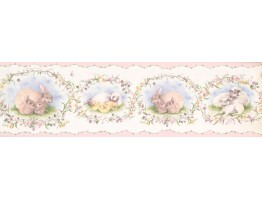 Prepasted Wallpaper Borders - Cute Duck Rabbit FamilyWall Paper Border
