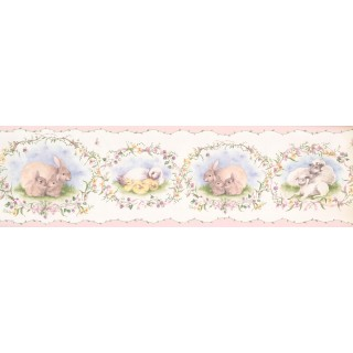 7 in x 15 ft Prepasted Wallpaper Borders - Cute Duck Rabbit FamilyWall Paper Border