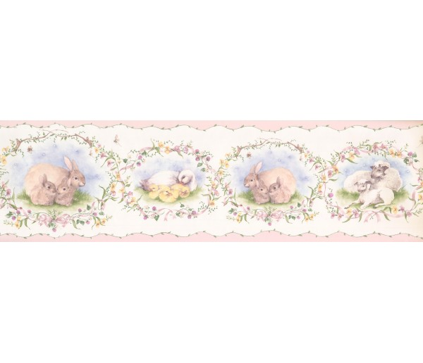 Clearance: Cute Duck Rabbit FamilyWallpaper Border