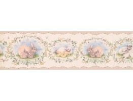 6 3/4 in x 15 ft Prepasted Wallpaper Borders - Peach Mothers and Babies Animals Wall Paper Border
