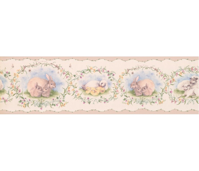Clearance: Peach Mothers and Babies Animals Wallpaper Border