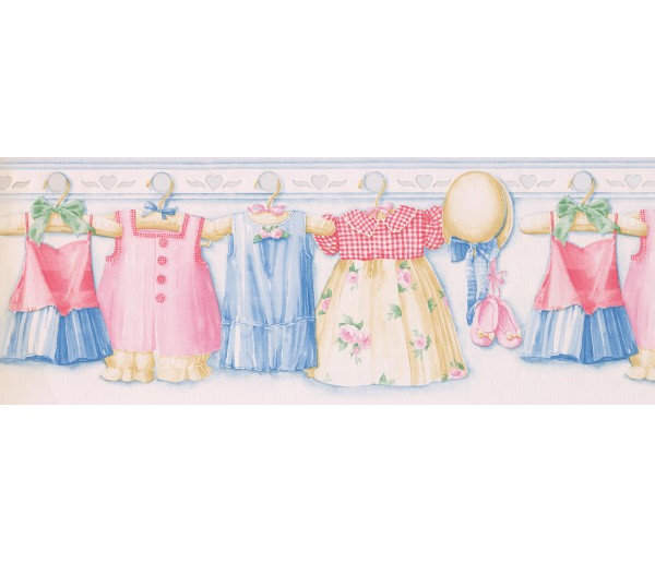Laundry Borders Pink Girl Dress Wallpaper Border