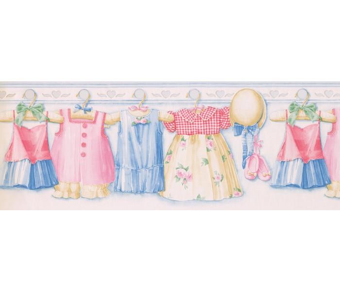 Laundry Wallpaper Borders: Pink Girl Dress Wallpaper Border