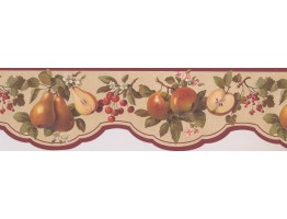 Prepasted Wallpaper Borders - Maroon Scalloped Fruit Wall Paper Border