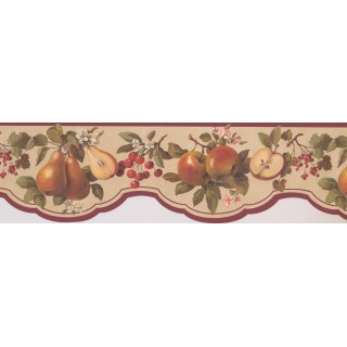 8 in x 15 ft Prepasted Wallpaper Borders - Maroon Scalloped Fruit Wall Paper Border