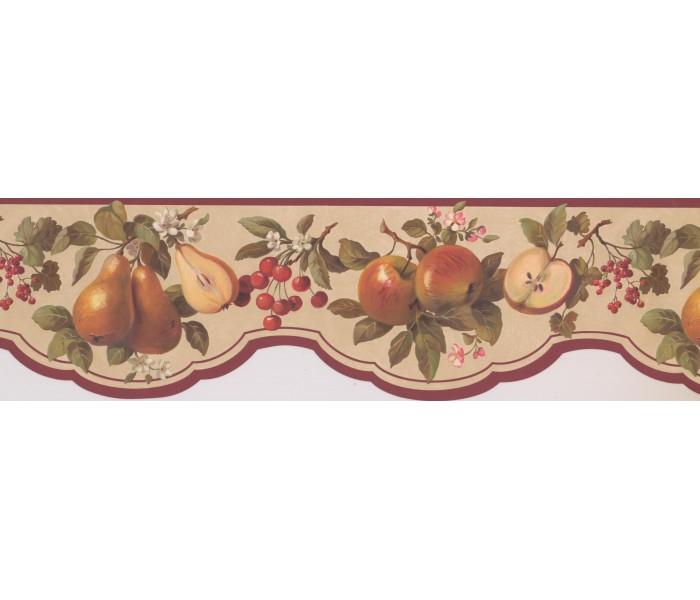 Garden Wallpaper Borders: Maroon Scalloped Fruit Wallpaper Border