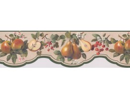 Green Peach Apples Wallpaper Border