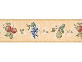 Prepasted Wallpaper Borders - Taupe Fruit Wall Paper Border