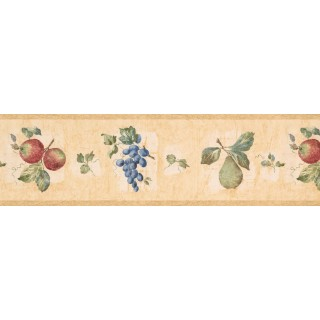 7 in x 15 ft Prepasted Wallpaper Borders - Taupe Fruit Wall Paper Border