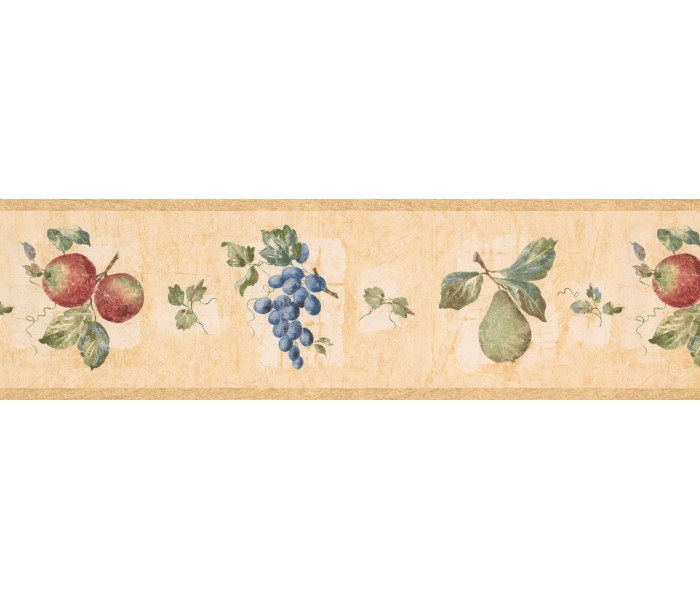 Clearance: Taupe Fruit Wallpaper Border