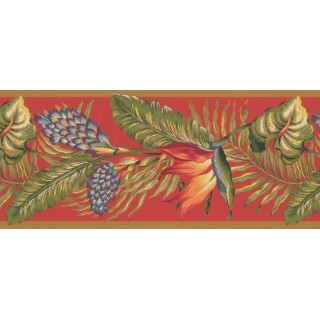 4 in x 15 ft Prepasted Wallpaper Borders - Blue Pine Leaves Wall Paper Border