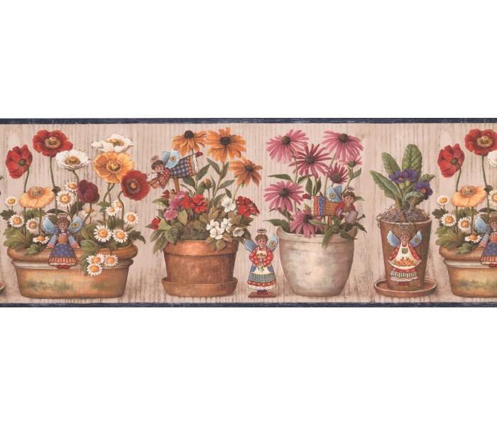 Garden Wallpaper Borders: Blue Cream Wooden Flower Pot Angels Wallpaper Border