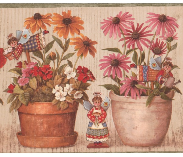 Garden Wallpaper Borders: Green Cream Daisy Floral Pots Angels Wallpaper Border