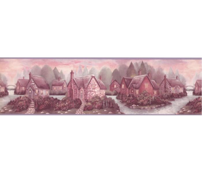 Landscape Wallpaper Borders: River Smoked House Wallpaper Border