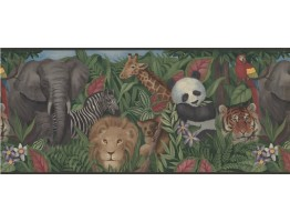 Prepasted Wallpaper Borders - Wildlife Panda Tiger Wall Paper Border