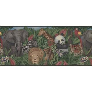 10 in x 15 ft Prepasted Wallpaper Borders - Wildlife Panda Tiger Wall Paper Border