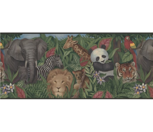 Jungle Wallpaper Borders: Wildlife Panda Tiger Wallpaper Border