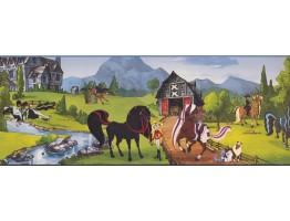 9 in x 15 ft Prepasted Wallpaper Borders - Horses Wall Paper Border BT2741