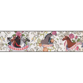 6 in x 15 ft Prepasted Wallpaper Borders - Horses Wall Paper Border BT2745