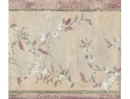 Red Green Cream Floral Wallpaper Border